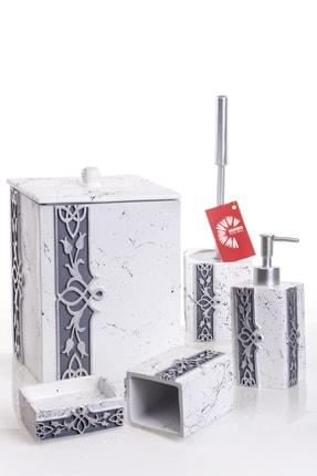 MUKKO HOME Lale Beyaz Gümüş 5 Parça Lüks Banyo Seti