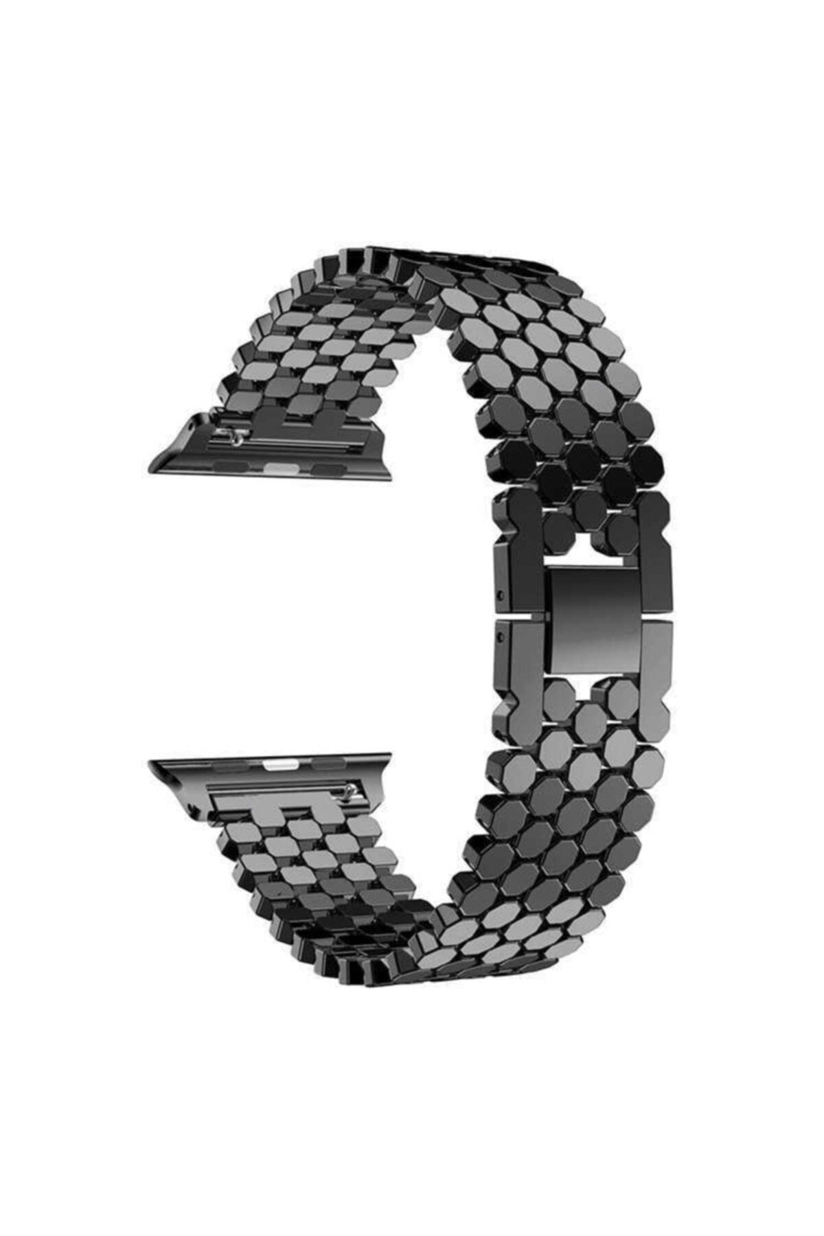 zore Apple Watch 6 40mm Bal Peteği Tasarımlı Metal Gövdeli Kordon 2