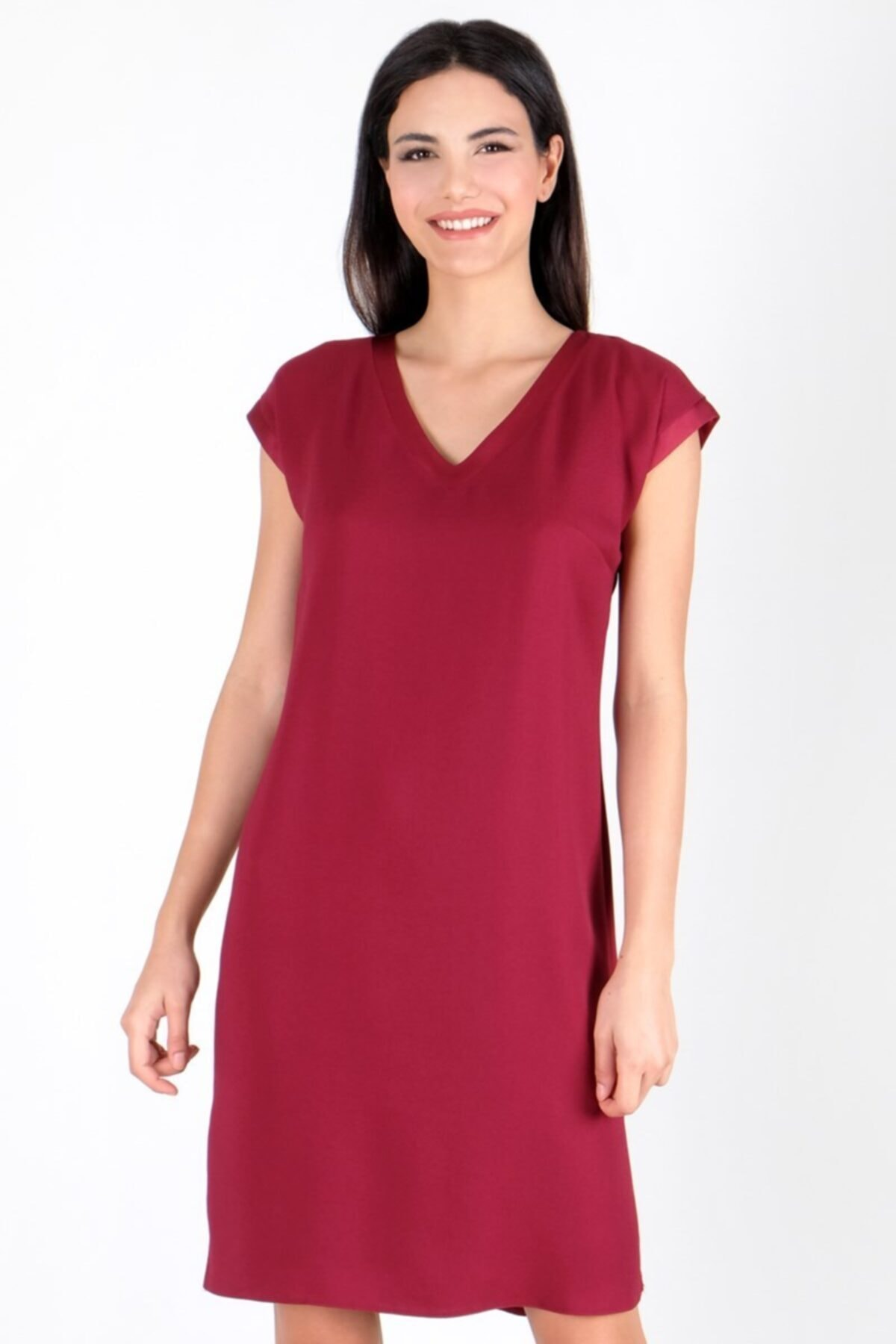Spazio Kadın Bordo Manuelo V Yaka Sırtı Düğmeli Bantlı Elbise 50095795 1