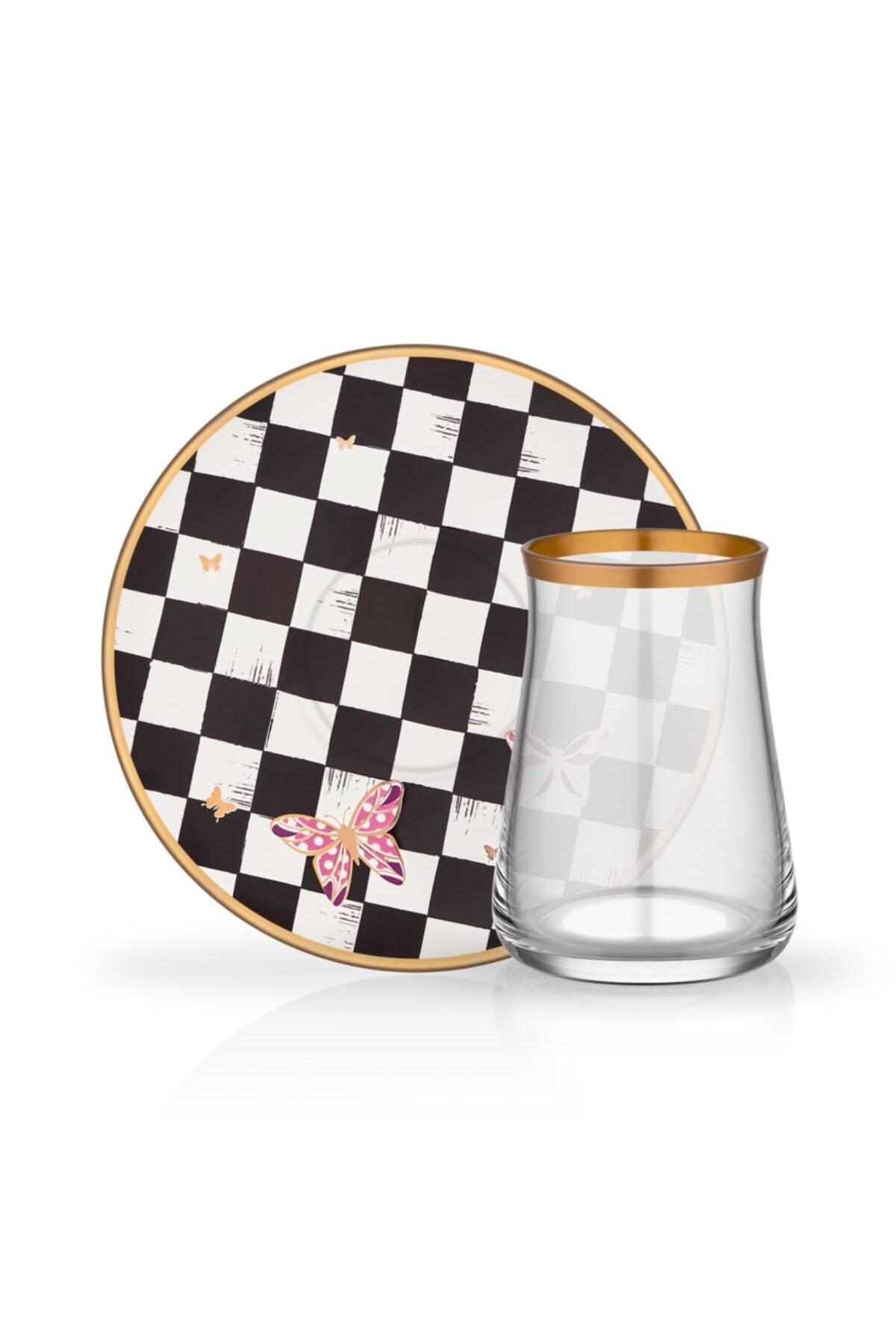 Glore Emma Damalı 6 Kişilik Çay Bardağı Seti 1