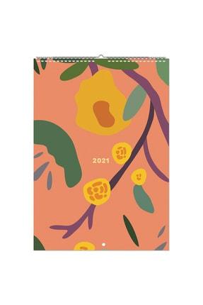 Fabooks Turuncu Soyut A4 Duvar Takvimi 2021 – Sticker Sayfalı