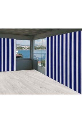 Evim Mavi Beyaz Çizgili Ceylan Home Balkon Perdesi Brandası 675x250