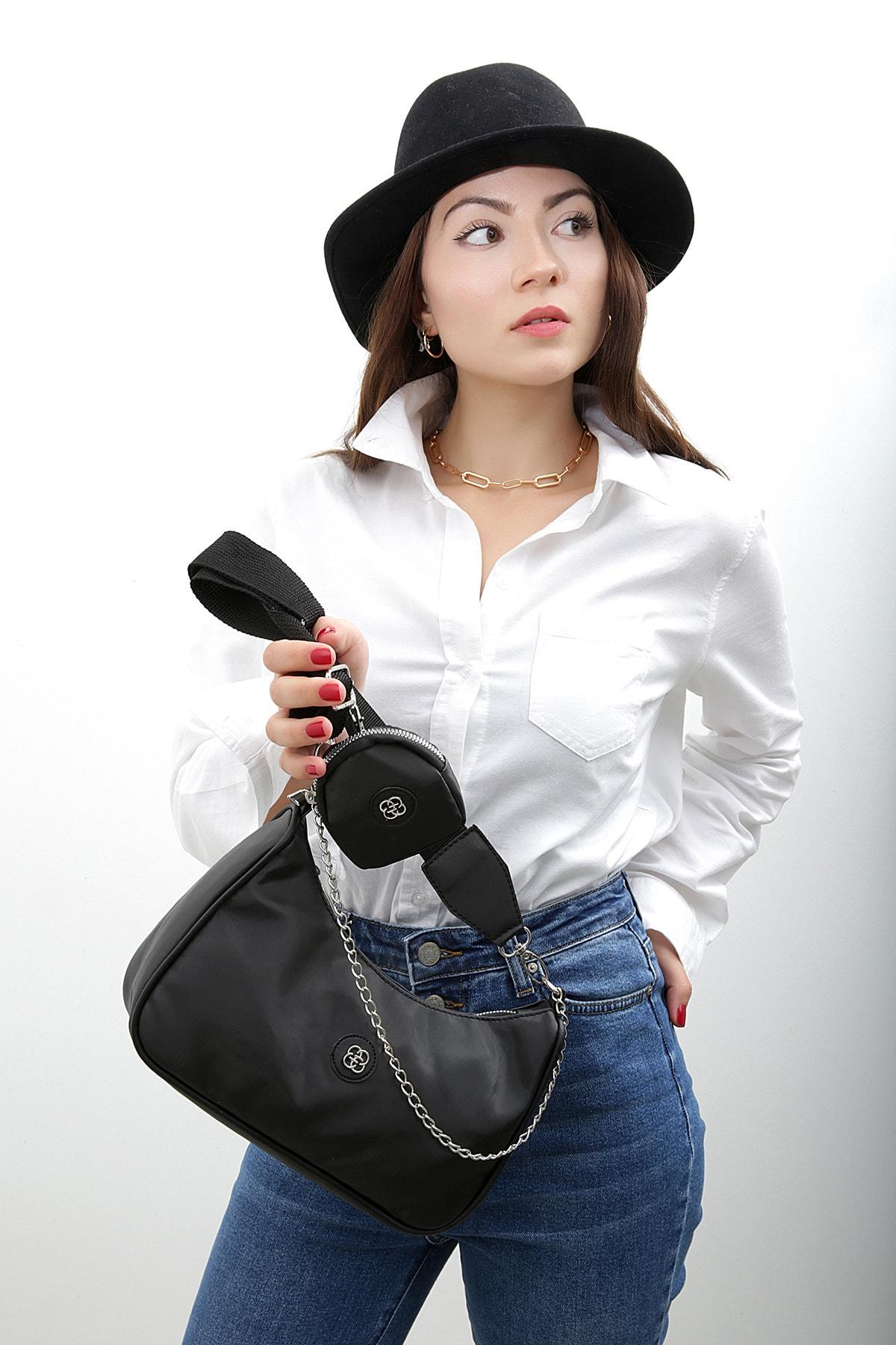 Etka Çanta Kadın Siyah Kolon Askılı Cüzdanlı Çapraz Çanta 1