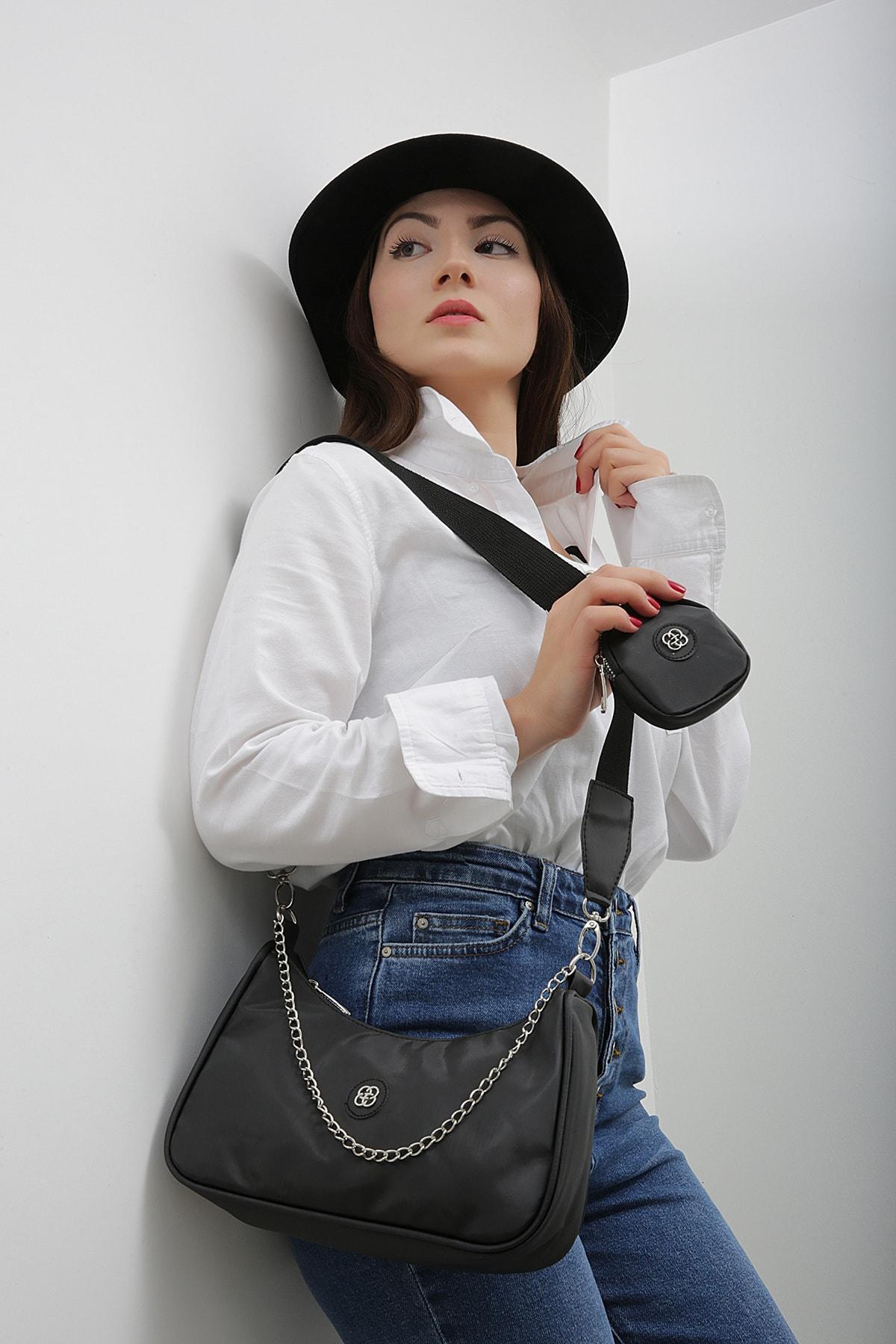 Etka Çanta Kadın Siyah Kolon Askılı Cüzdanlı Çapraz Çanta 2