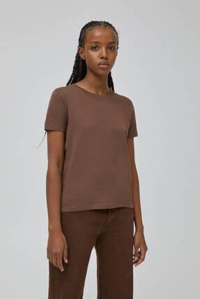 Pull & Bear Kadın Kahverengi Basic Bisiklet Yaka T-shirt