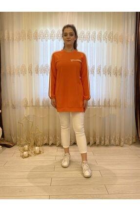 Loreen Kolları Beyaz Şeritli Turuncu Sweatshirt