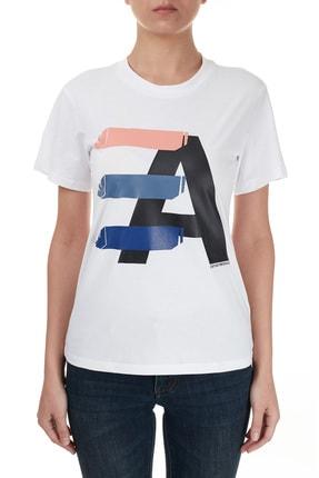 Emporio Armani Kadın Beyaz Baskılı Bisiklet Yaka Pamuklu T Shirt 6h2t7ı 2j07z 0100