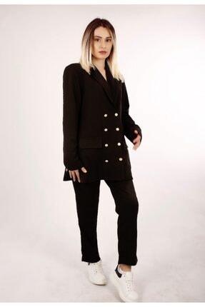 Senaaydinfashion Kadın Siyah Kumaş Pantalon Blazer Ceket Takım