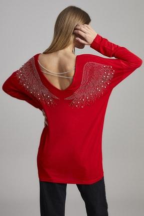 ELBİSENN Kadın Kırmızı Melek Kanat Zincir Aksesuarlı Salaş Bluz