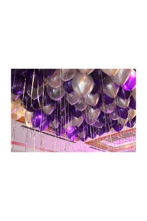 BalonEvi 50 Adet Metalik Balon (mor - Gümüş Karışık) Uçan Balon