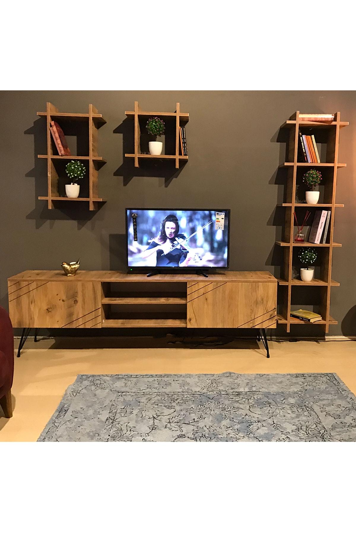 TE-HOME Ceviz Kare Yat Tv Ünitesi 3050 1