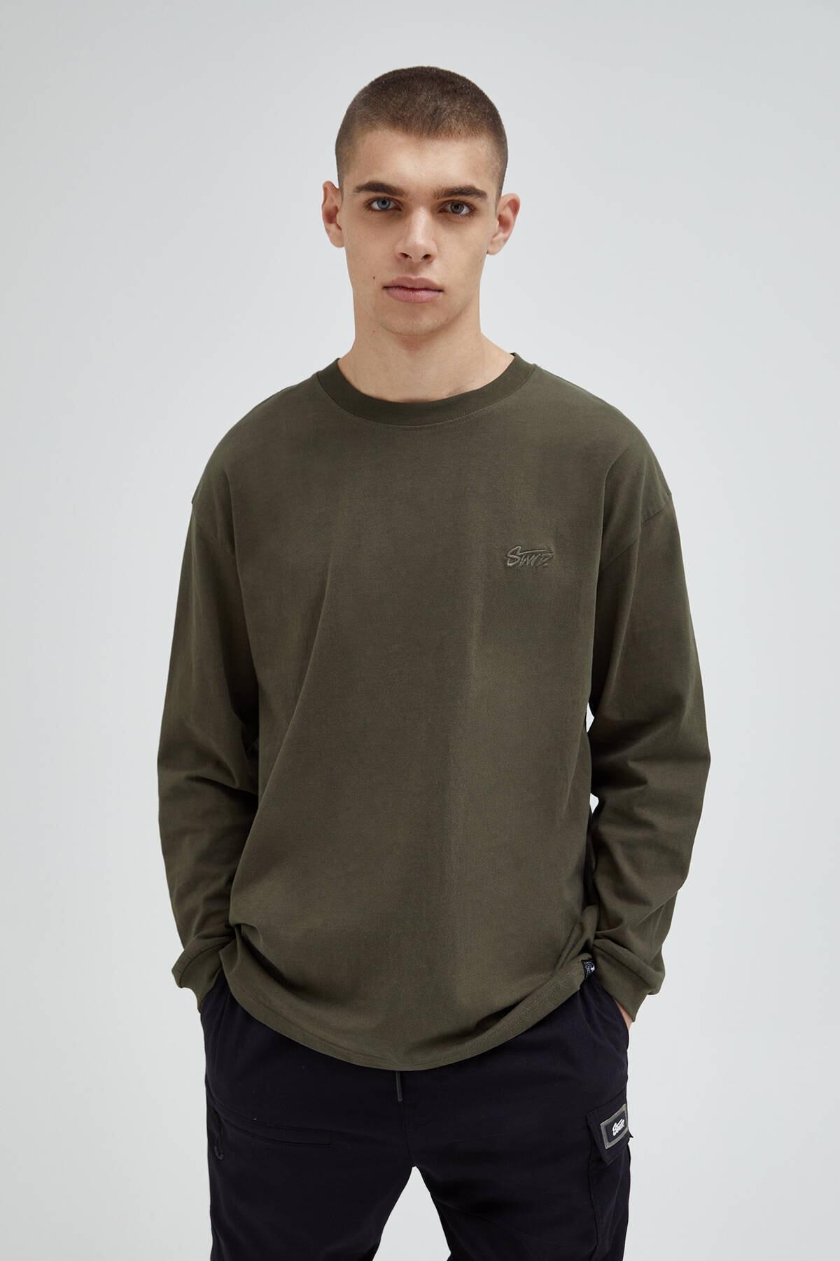 Pull & Bear Erkek Haki Basic %100 Pamuklu T-Shirt 04240505