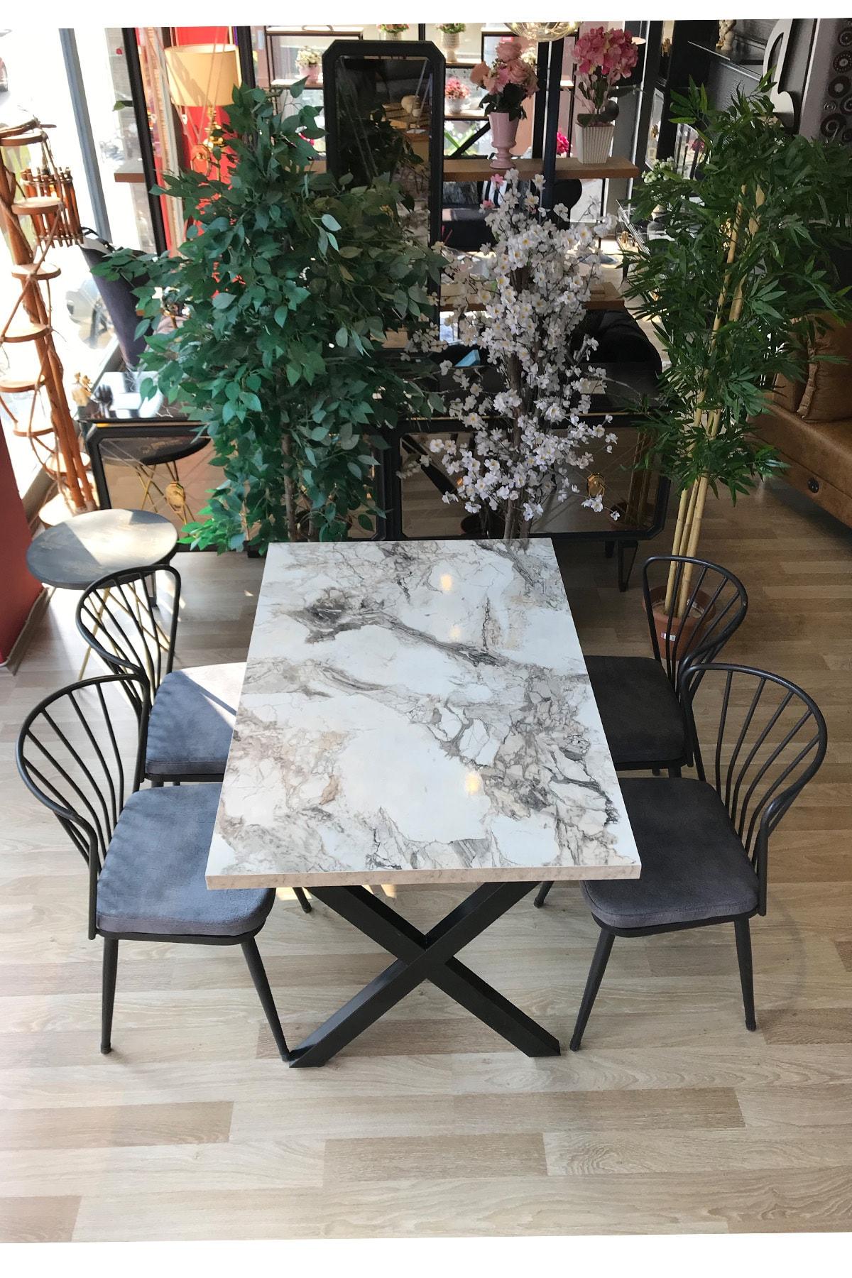 TE-HOME X Ayak Beyaz Mermer Masa +4 Omega Sandalye Gri 1