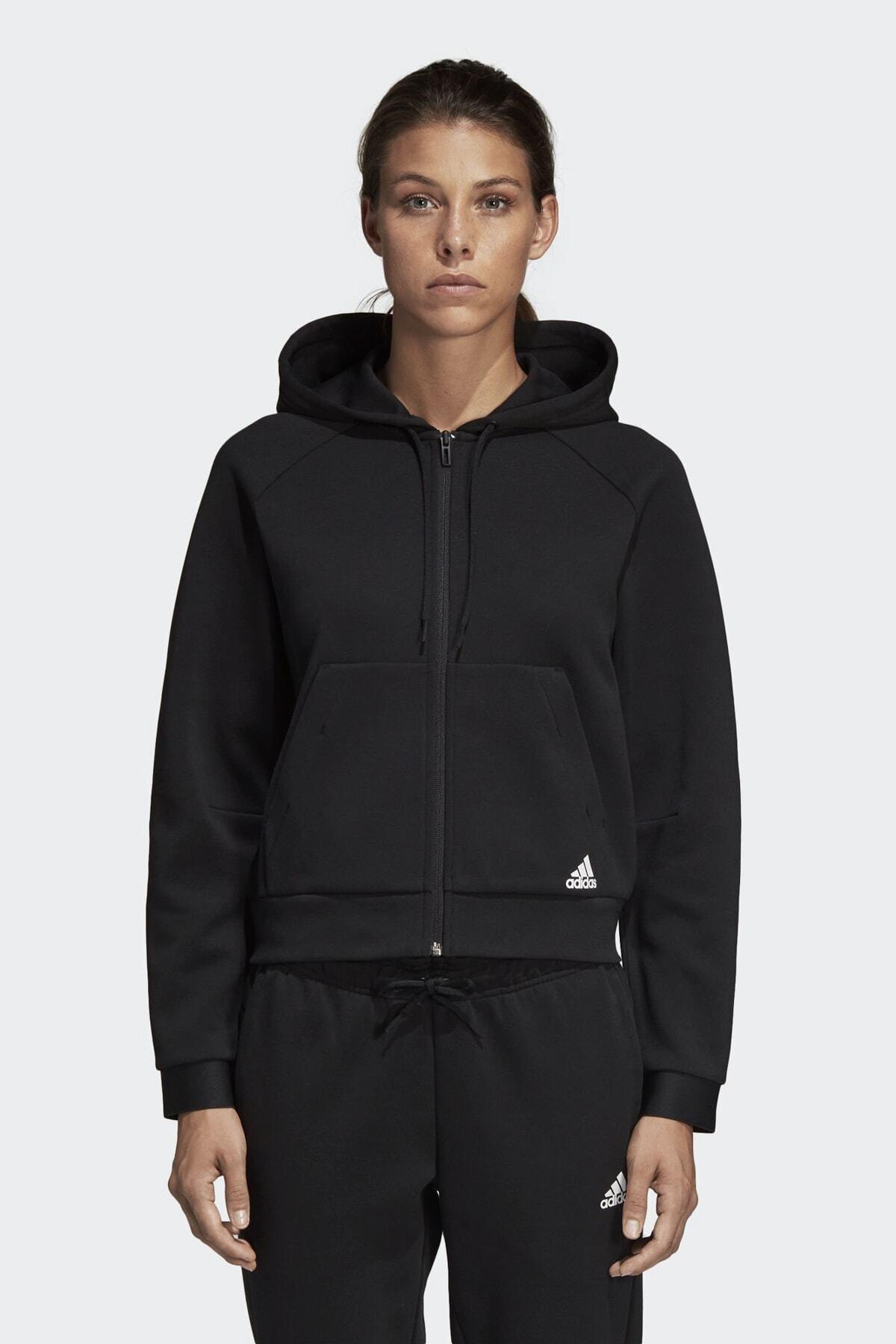 adidas Kadın Siyah W Mh Hoodie Eşofman Üstü Du6570 1