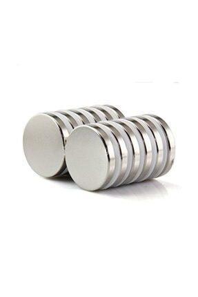 Dünya Magnet 10 Adet Çap 20mm X Kalınlık 3mm Süper Güçlü Yuvarlak Neodyum Mıknatıs (10'lu Paket)