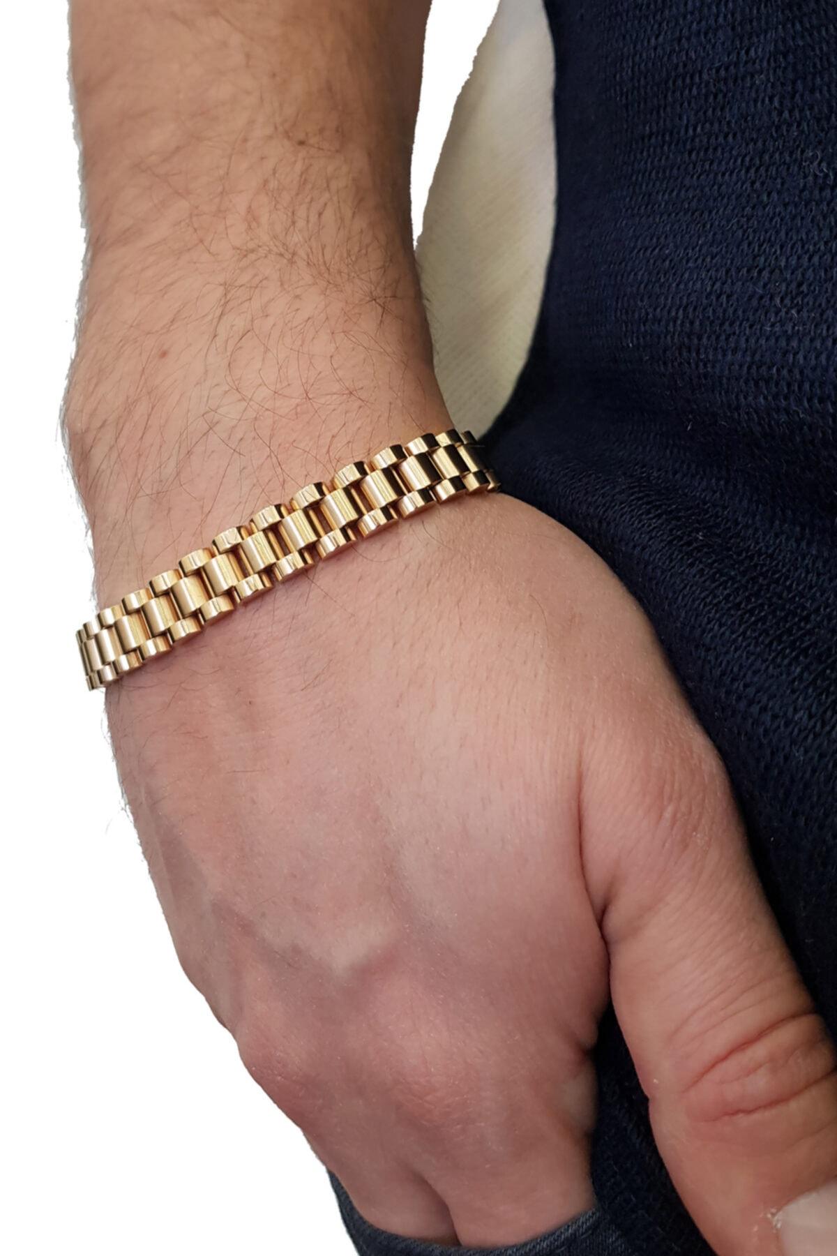 Chavin Gold 316 L Çelik Parlak Ve Mat Erkek Bileklik Ed02sr 1