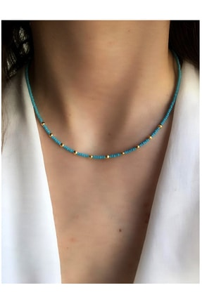 Serpil Jewellery Kadın Gold Mavi Afgan Boncuklu Kolye
