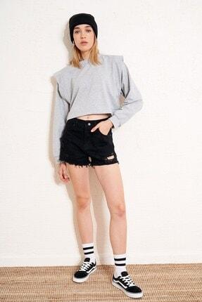 Eka Kadın Gri Omuzları Detaylı Kısa Sweatshirt