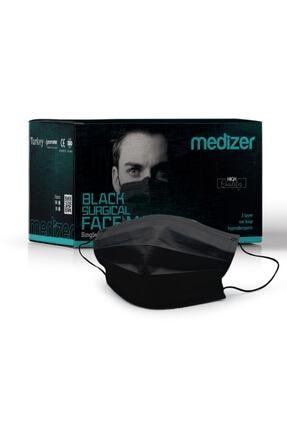 Sabomar Medizer Siyah Burun Telli  Full Ultrasonik Cerrahi Ağız Maskesi 3 Katlı Spunbond Kumaş 50 Adet