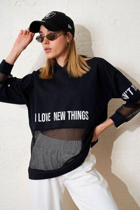 Eka Kadın Siyah Baskılı File Detaylı Salaş Sweatshirt