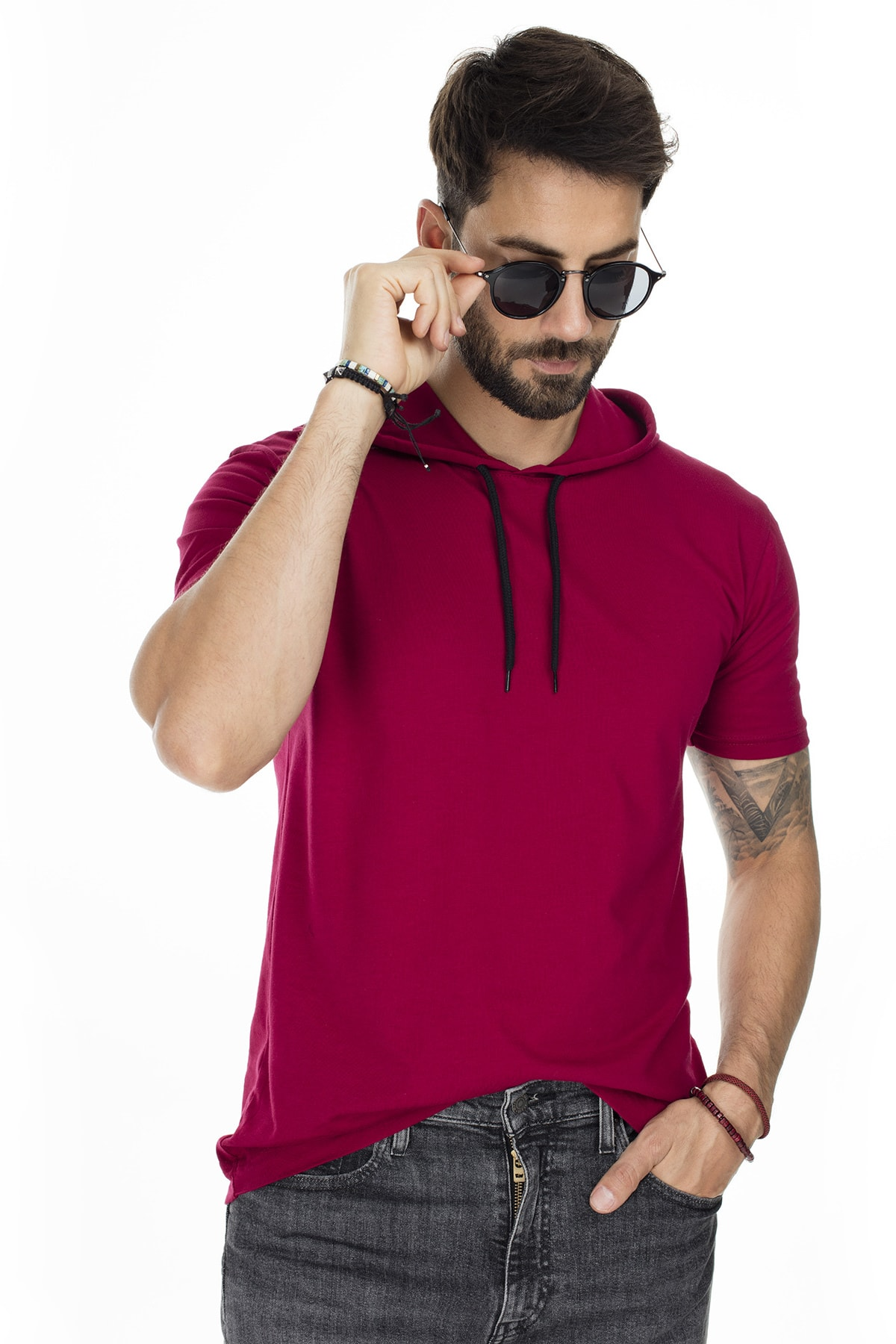 Buratti Erkek Bordo Kapüşonlu Pamuklu Slim Fit Basic T Shirt 5412021