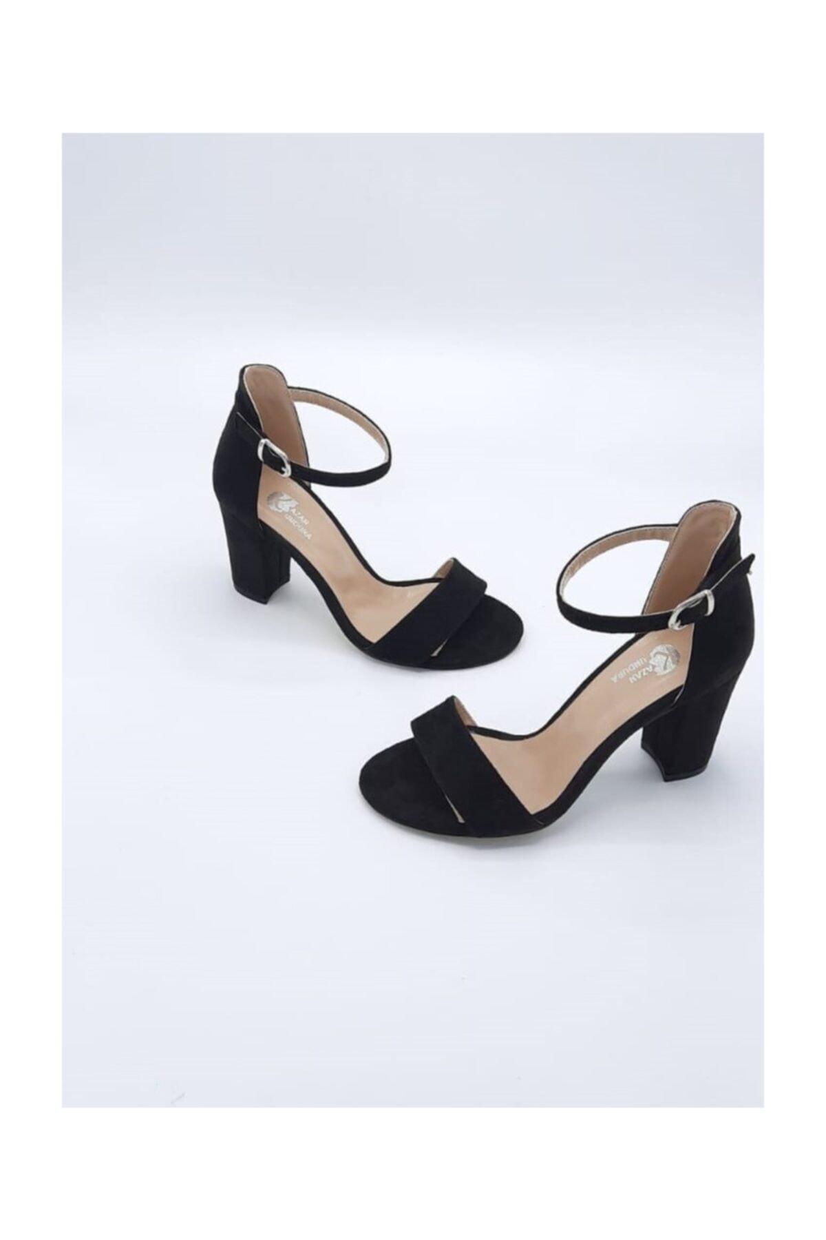 Stella Kadın Siyah Tekbant Süet Topuklu Ayakkabı 2