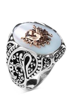 Anı Yüzük Osmanlı Arması Kabartmalı Beyaz Sedef Taşlı Gümüş Yüzük