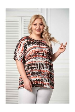 RMG Kadın Bluz Desenli Kol Detaylı