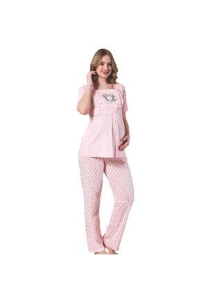 BOYRAZ Hamile Pijama Takımı Emzirmeli Kısa Kol Pembe Takım 7102