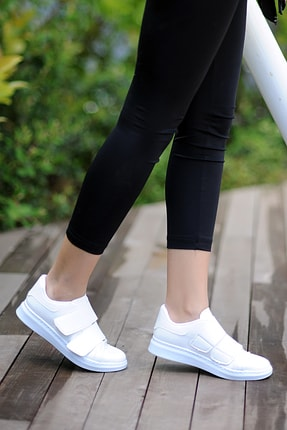 Pembe Potin Kadın Beyaz Ayakkabı