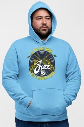 Angemiel Wear Jazz Ve Saksafon Mavi Erkek Kapüşonlu Sweatshirt