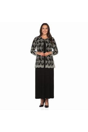 Ladies First Ladıes Fırst Büyük Beden 2652 Siyah Elbiseli Takım