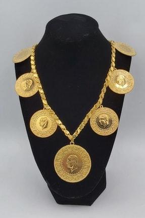 Alzey Gold İmitasyon Altın Kaplama 60cm Halep Arpa Pullu Zincir Gramise Tam Altın Kadın Kolye
