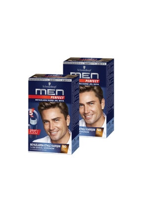 SCHWARZKOPF HAIR MASCARA Men Perfect 50 Açik Kahve 2 Li