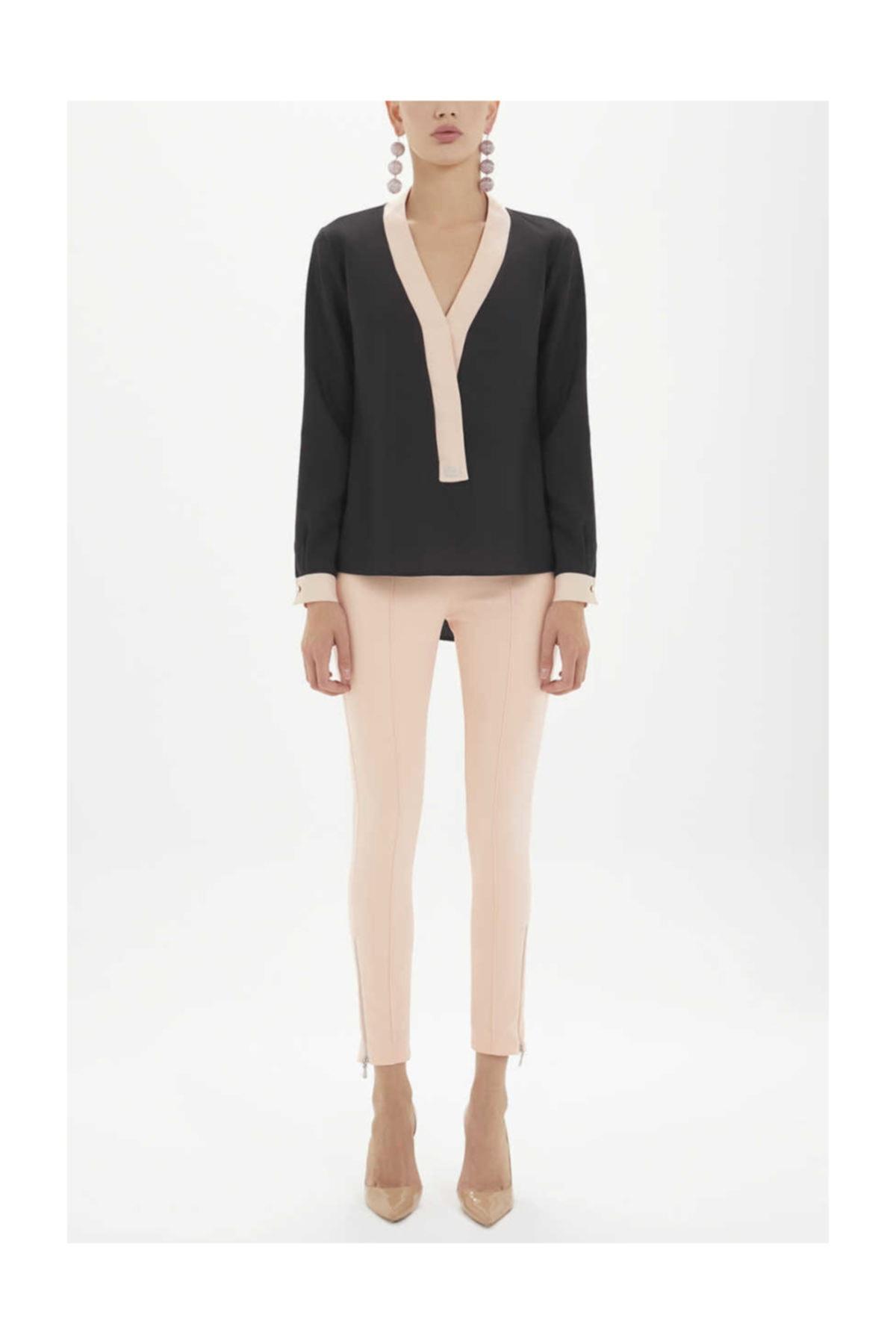 SOCIETA Kadın Kontrast Renkli Bol Kesim Bluz Siyah 19255 M03141019255101 1
