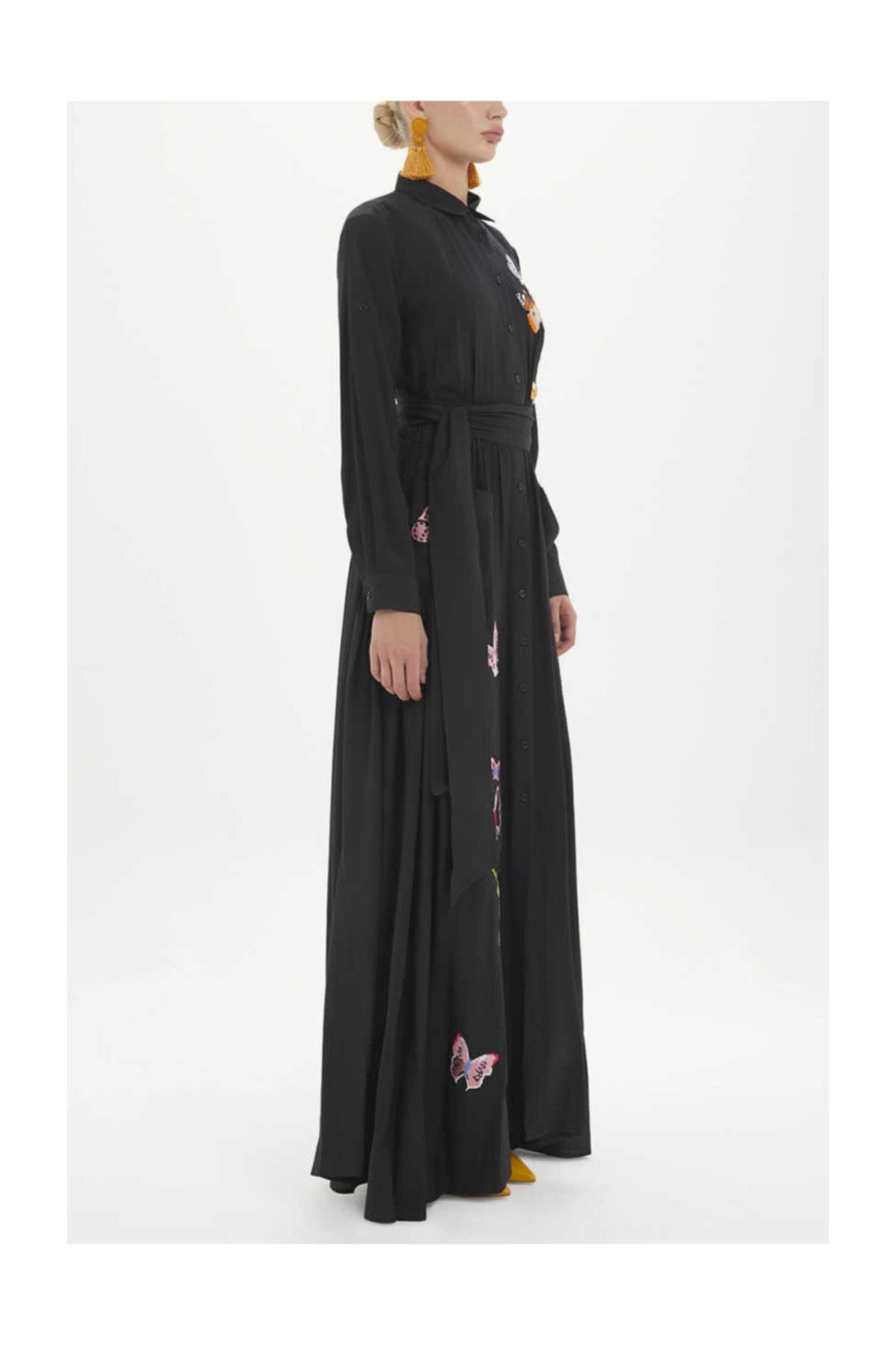 SOCIETA Kadın Nakış Ve Büzgülü Gömlek Elbise Siyah 92562 M18191092562101 2
