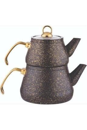 Remetta Siyah Granit Aşiret Boy Çaydanlık Gold Kulp