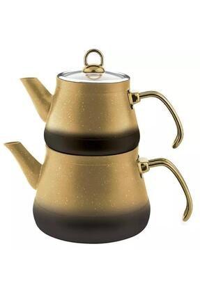 Remetta Sarı Granit Aşiret Boy Çaydanlık Gold Kulp