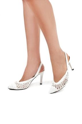 Gökhan Talay Örgü Detaylı Beyaz Kadın Klasik Topuklu Ayakkabı