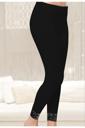 Tutku Kadın Uzun Dantelli Tayt 6'lı Paket Siyah