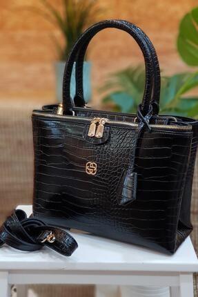 Limoya Bags Straw Kadın Siyah Kroko Desenli El Ve Omuz Çantası