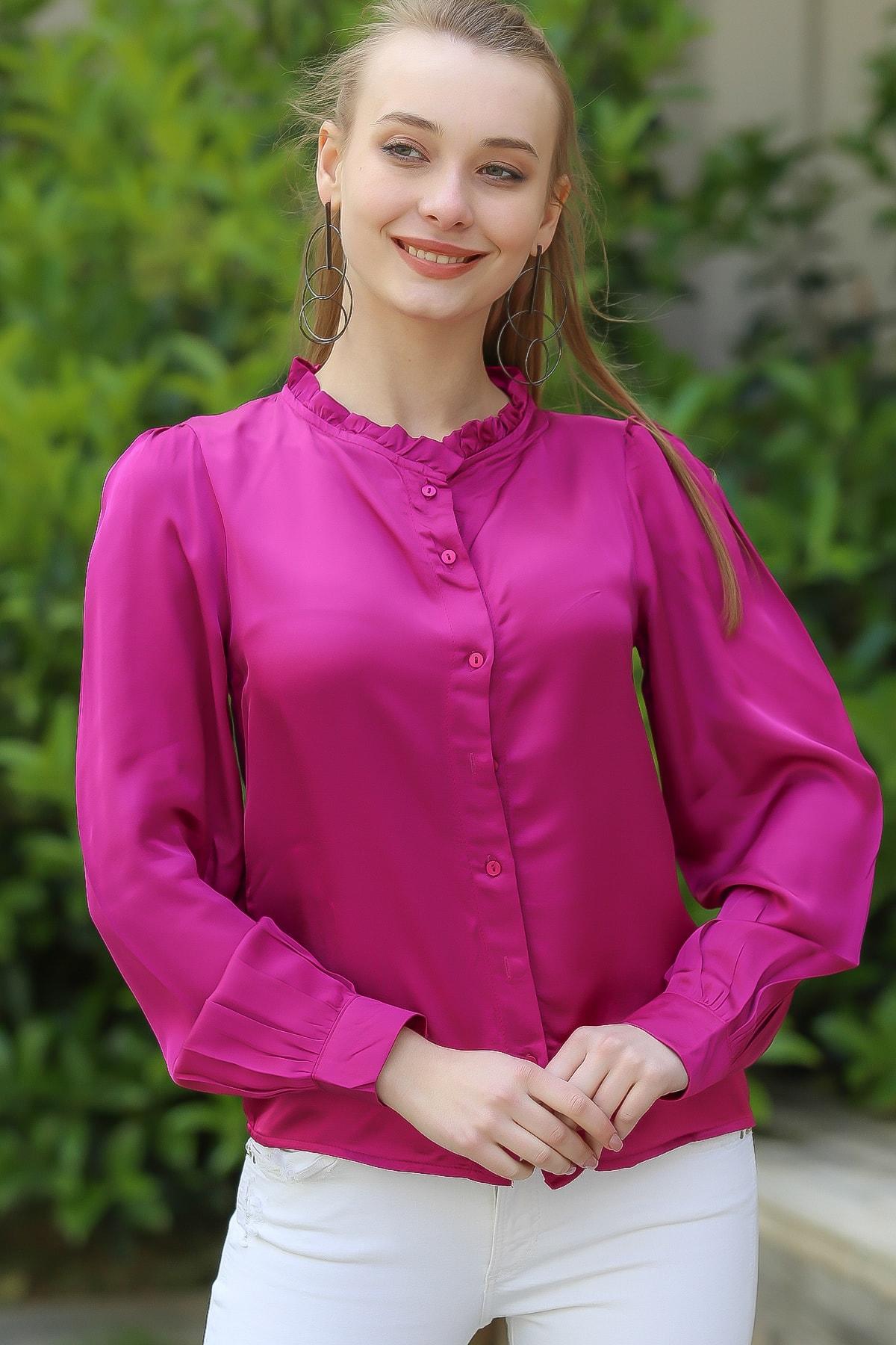 Chiccy Kadın Fuşya Retro Yakası Fırfır Detaylı Gömlek M10010400Gm99546