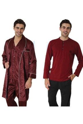 Effort Pijama Effort Erkek Röpteşambırlı 5li Pijama Takımı Bordo