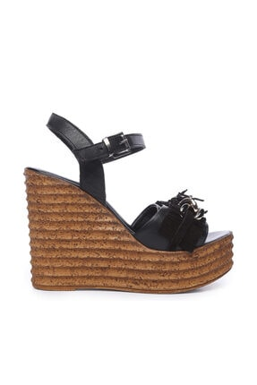 KEMAL TANCA Siyah Kadın Deri Sandalet Sandalet 169 51454 BN SNDLT