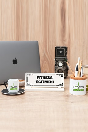 Hediyedukkani Fitness Eğitmeni Siyah Türk Kahvesi Fincanı Kalemlik Ve Masa Isimliği Seti