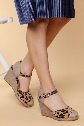 Moda Değirmeni Kadın Hasır-leopar Keten Dolgu Topuklu Ayakkabı Md1013-120-0004
