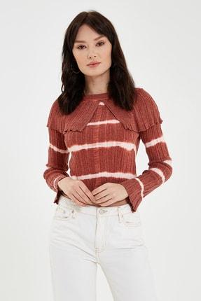 Nisan Triko Kadın Pudra Çizgili Bluz