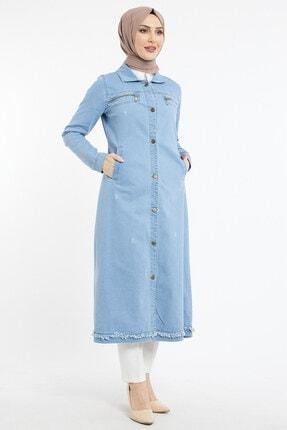 benguen Kadın Uzun Cepli Kot Ceket - Mavi