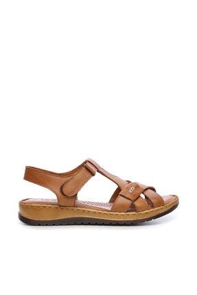 KEMAL TANCA Hakiki Deri Kahverengi Kadın Comfort Sandalet 673 223 BN SNDLT Y19