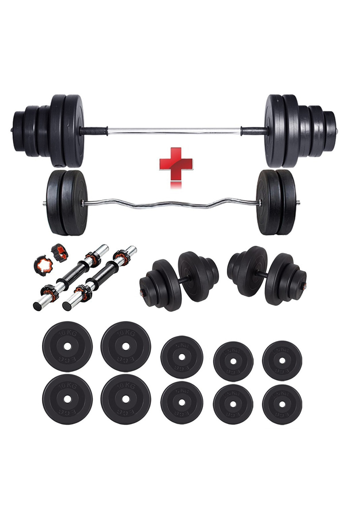 ECG SPOR 68 Kg Z Bar Dambıl Seti & Halter Seti Ağırlık Fitness Seti 1
